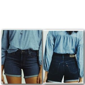 Levi's Cut off Dark Wash Blue Denim Jean Shorts 4